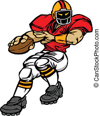 Football Player Quarterback Vector - Cartoon Vector...