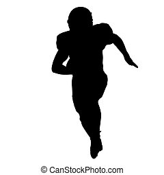 Football player running with ball in his hand, vector silhouette, front view