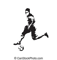 Football player running with ball, isolated vector silhouette