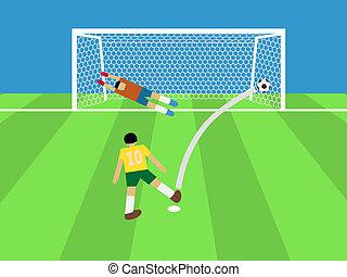 football player shooting soccer ball to goal,...