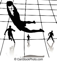 Illustration of silhouette of football players on the football game.
