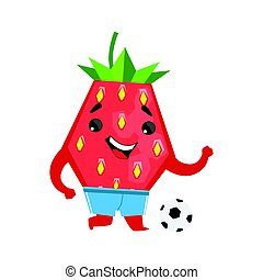 Football player strawberry with a ball. Cute cartoon emoji character vector Illustration
