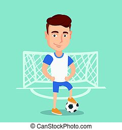 Football player with a ball vector illustration.