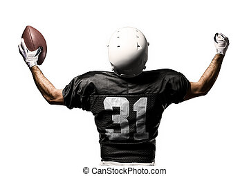 Football Player with a black uniform, on a white background