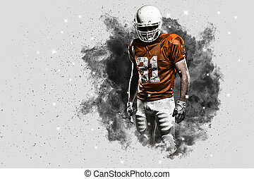 Football Player with a Orange uniform coming out of a blast...