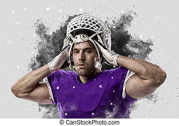 Football Player with a Purple uniform coming out of a blast of smoke