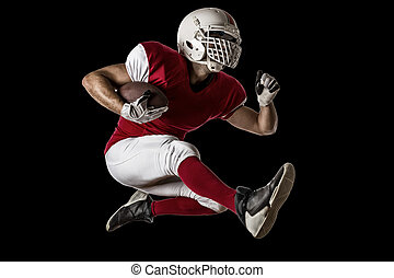 Football Player with a red uniform Running on a Black...