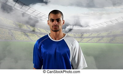 Football player with a serious expression