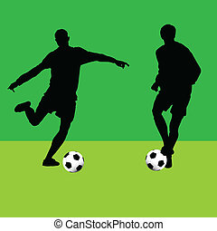 football player with ball silhouette vector