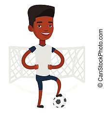 Football player with ball vector illustration.