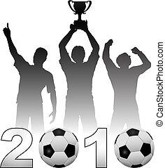 Football players celebrate 2010 season soccer victory - Team...