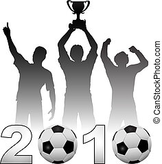 Football players celebrate 2010 season soccer victory - Team...