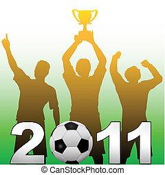 Football players celebrate 2011 season soccer victory