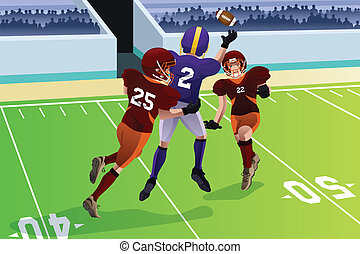 A vector illustration of football players in a match in a stadium