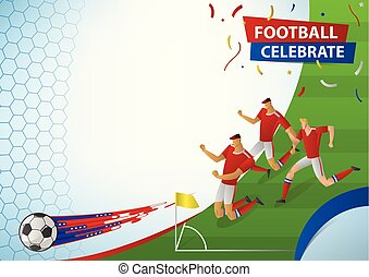 Football players in action celebration.