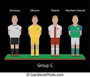 Football players. Soccer teams. Germany, Ukraine, Poland, Northern Ireland