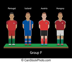 Football players. Soccer teams. Portugal, Iceland, Austria, Hungary