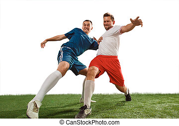 Football players tackling for the ball over white background