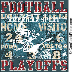 american football illustration for shirt printed and poster
