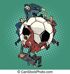 football, politiciens, balle, concurrence, football.