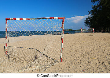 football praia, dia ensolarado, passo