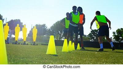 football, pratiquer, joueurs, 4k