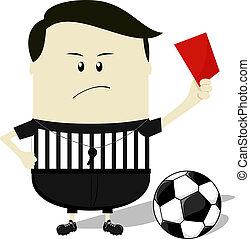 football, projection, arbitre, carte rouge