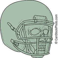Football Quarterback Skull Drawing
