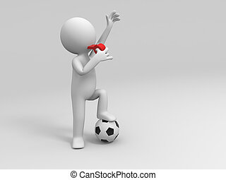 Football Referee - A man is blowing the whistle