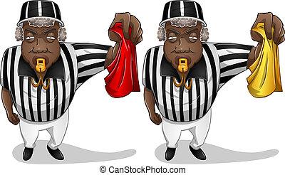 football referee, met, vlag, en, fluitje