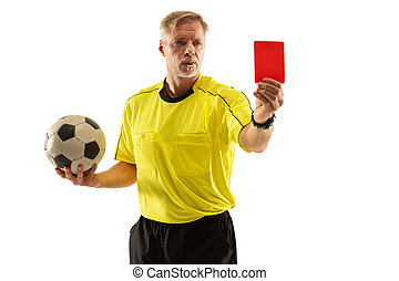 Football referee showing a red card to a displeased player isolated on white background