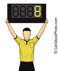 Football referee shows extra time, the soccer players...