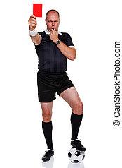 football referee, volledige lengte, vrijstaand, op wit