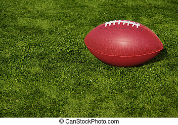 Football Resting on Artificial Turf - An American football...