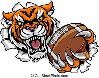 football, rottura, tiger, americano, palla, fondo