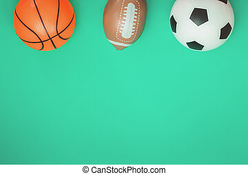 Football rugby and basketball concept with balls