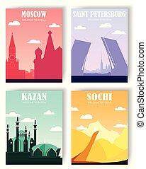 football. set postcard, banner. flat illustration