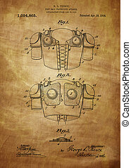 Football Shoulder Pads Patent 1913, Vintage patent artwork...