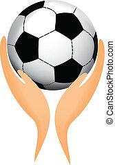 football, sien, balle, mains