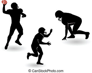 football, silhouette, americano, set, vettore