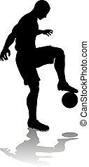 football, silhouette, joueur, football