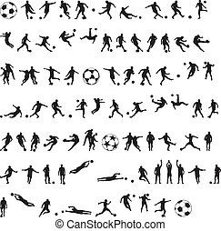 Football silhouettes vector - Football as a variety of ...