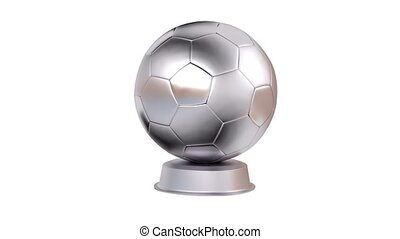 Football Silver Trophy in Infinite Rotation with a white...