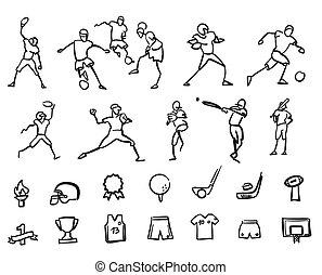 Football, Soccer and Baseballplayer Sketched Motion Doodle Set