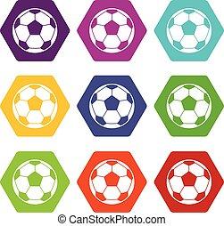 Football soccer ball icon set color hexahedron