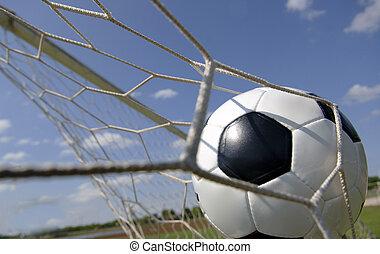 Football - Soccer ball in Goal