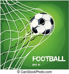 Football Soccer Ball In Net On Gold Vector Image