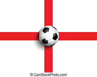 Football / soccer ball on england flag background