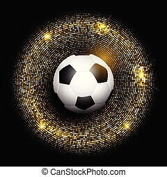 football / soccer ball on glittery gold background 1505
