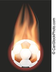 Football Soccer ball with flame
